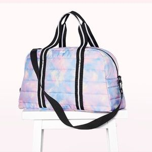 PINK VS Rainbow Sunset Tie Dye Quilted Duffle Bag